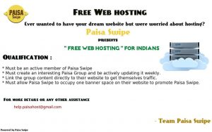 Get Free Website Hosting from Paisa Swipe