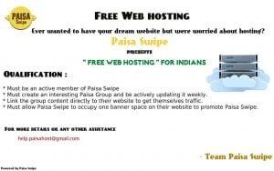 Get Free Website Hosting from Paisa Swipe