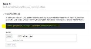 Claim URL Instant Articles