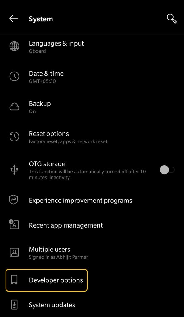 oneplus developer options