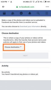 Transfer facebook photos and videos to google photos