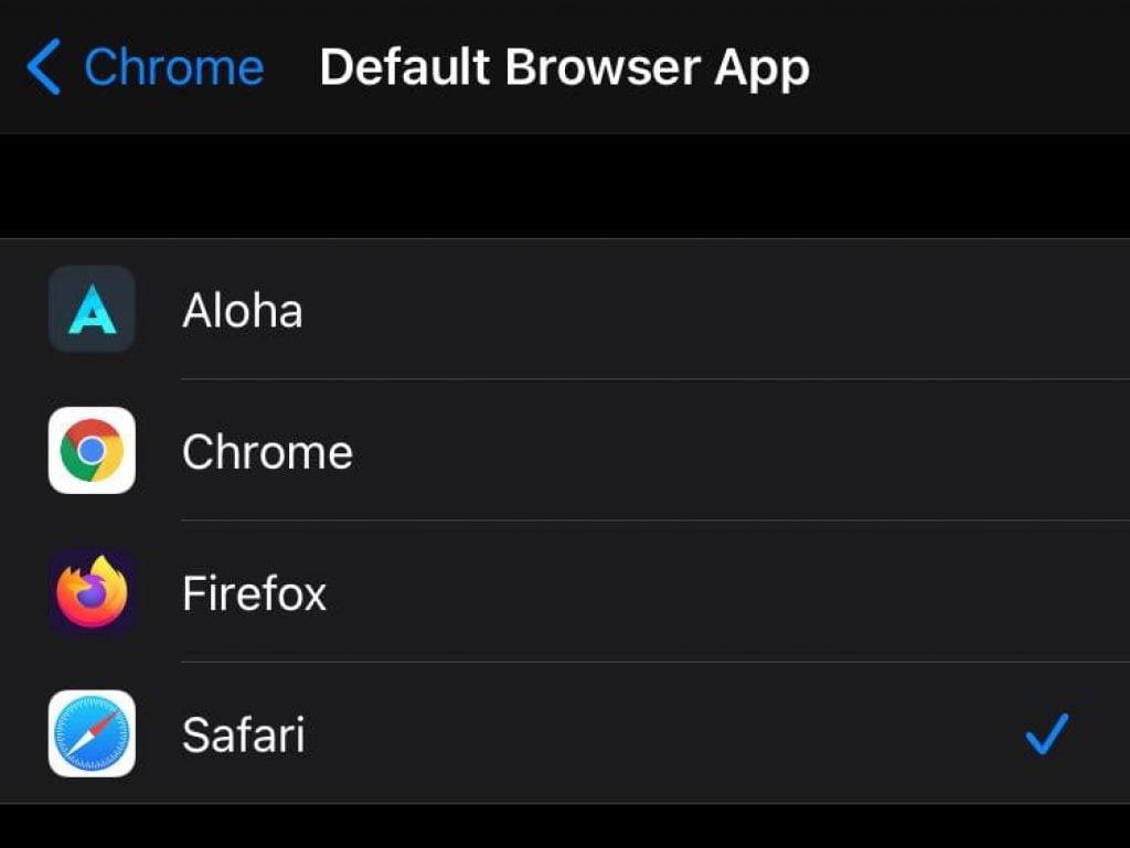 Default Browser App on iOS 14