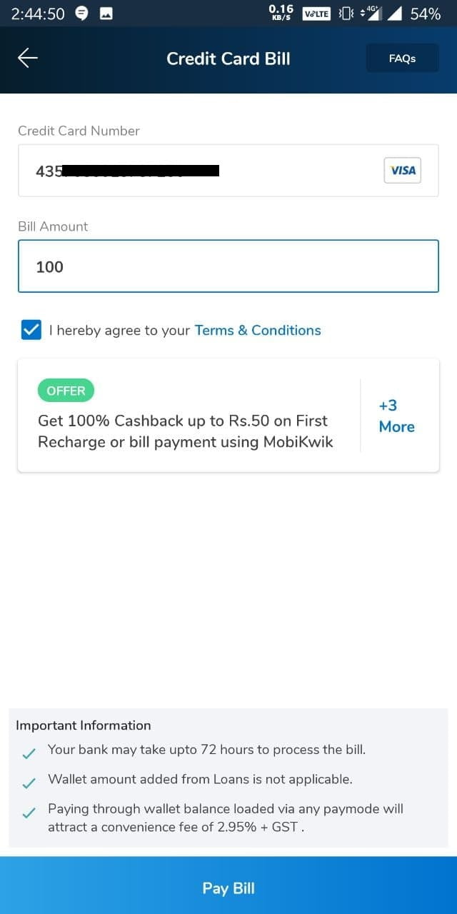 mobikwik credit card bill payment