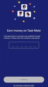 task mate invitation code