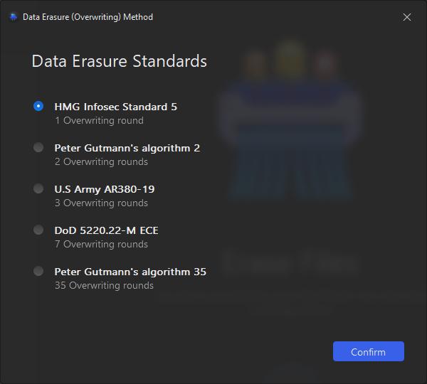 AweEraser data erasure standards