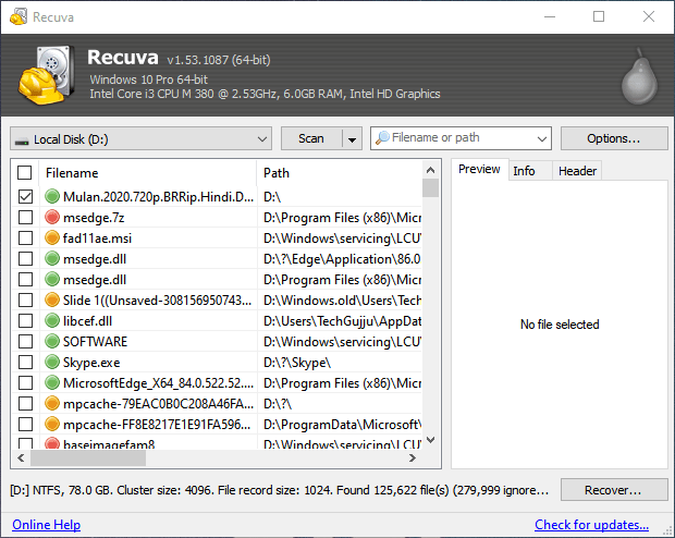 AweEraser recoverable data