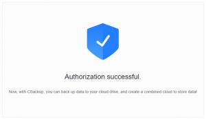 Cbackup authorize success