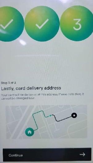 uni card enter address