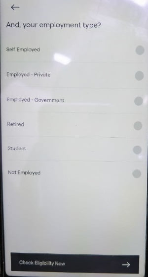 uni card select employment type