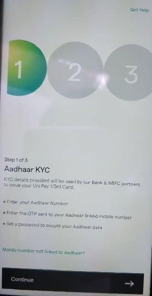 uni card verify aadhar number