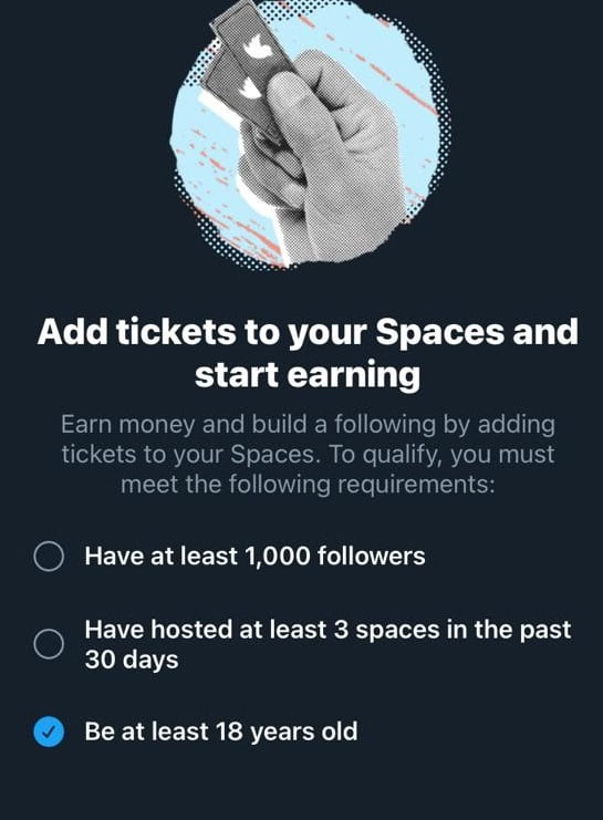 twitter tickets spaces